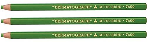 3x-mitsubishi-dermatograph-7600base-di-olio-cina-marker-matite-verde-chiaro-peelable