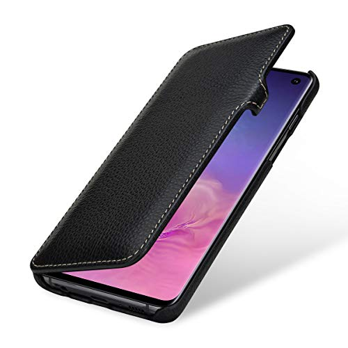 StilGut Leder-Hülle kompatibel mit Galaxy S10, seitlich klappbares Book Type Case, schwarz mit Clip Leder Clips