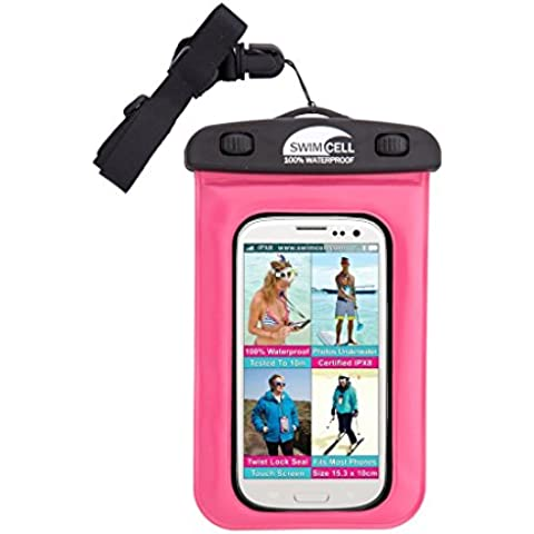 SwimCell 100% Funda impermeable smartphone y móvil. Para guardar el móvil, las llaves y el dinero. Alta calidad, tamaño estandard 10cm x 15cm. Válido para dispositivos con pantalla de hasta 6 pulgadas. Certificado IPX8. Sumergible hasta 10 metros bajo el agua. Cierre hermético patentado. Color negro SCPK01.