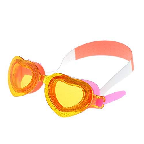 Schwimmbrillen für Männer Frauen Mädchen Kinder Silikon Anti-Fog-Brille HD Cartoon orange Schwimmbrille mit Antibeschlag und UV Schutz -