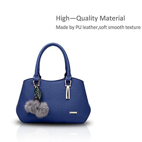 NICOLE&DORIS Le donne elegante maniglia superiore della borsa del messaggero della borsa della spalla del Tote casuale del lavoro Satchel Zipper Nero blu navy