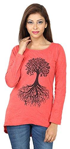 Tuntuk Women Long Sleeve Tree Design Tshirt (Large, Red)