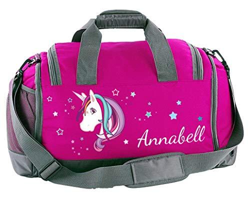 Mein Zwergenland Multi-Sporttasche in Pink mit Schuh- und Feuchtfach mit Name, 41 L, Einhorn Beauty 60
