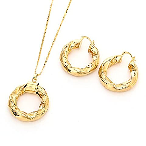 Dubai Gold Ethiopian Necklace Earrings African Sets Gold Plated Twist