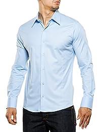 Reslad Herren-Hemd Langarmhemd Bügelleicht Slim Fit Figurbetont Uni RS-7002