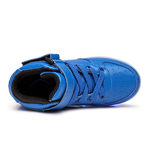 DoGeek LED Schuhe Kinder 7 Farbe USB Auflade Leuchtend Sportschuhe Led Sneaker Turnschuhe Blau