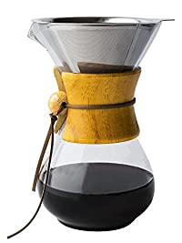 Glass Coffee Maker w/ Reusable Stainless Steel Filter by Comfify - Manual Coffee Dripper with Glass Carafe w/ Convenient Pour Over Coffee Brewer- 30 oz.