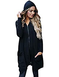 Tongshi Tops de mujer cremallera manga larga abrigo abrigos y chaquetas de abrigo con capucha