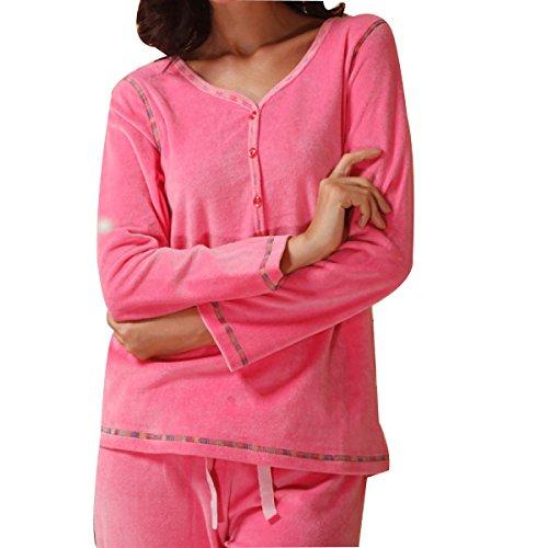 WS @ WX1023 Mme Pyjama En Velours Haut De Gamme Costume pink