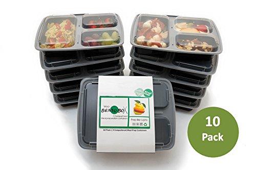 Frischhaltedose für Speisen,3Fächer, BPA-frei, 10Stück. Wiederverwendbare, stapelbare Frischhaltedosen aus Kunststoff mit Deckel Mikrowellen-, gefrierschrank- & spülmaschinenfest Bento-Lunchbox Set und Bonus-E-Guide (Sushi Wanne)