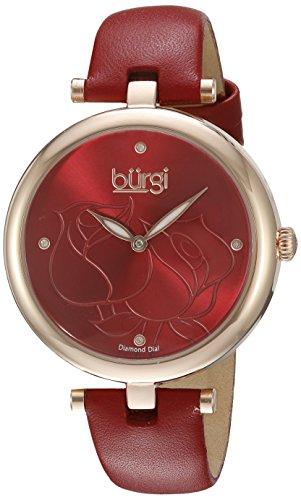 Burgi Femme Montre à Quartz avec Affichage analogique et Bracelet en Cuir Rouge Cadran Rouge bur151rd