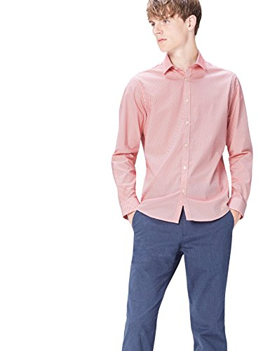 FIND Hemd Herren Slim Fit mit Muster und Kent-Kragen Orange (Mango Geo)