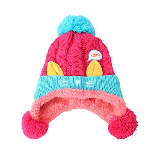 fc1512ed3 Gogokids Bebé Niños Niñas Gorras Invierno Sombreros de Pompón Crochet  Punto