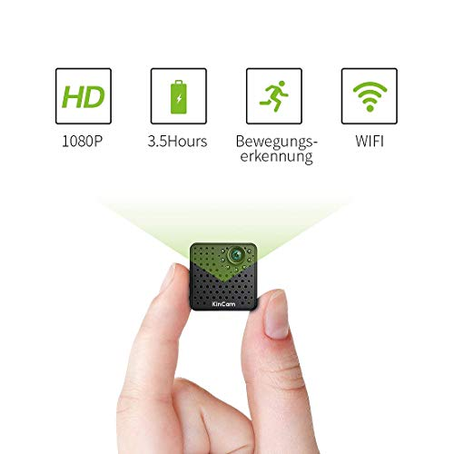 Mini Kamera, KinCam WLAN HD 1080P Überwachungskamera Tragebare Sicherheitskamera Kleine Mikrofon Nanny IP Cam Kabellose mit Akku Bewegungsmelder Infrarot Nachtsicht für IOS/Android. (Hd-wireless-spion-kamera)