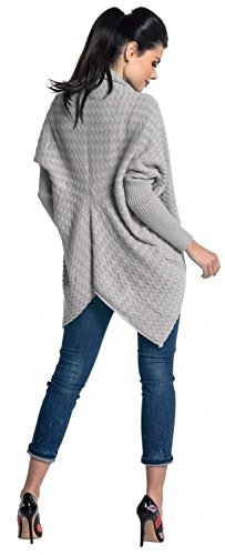 Zeta Ville - Cardigan lungo Poncho Mantella in maglia - donna - 337z Grigio