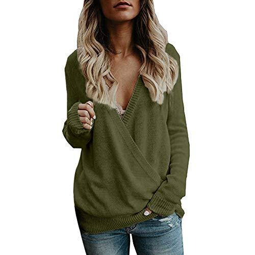 Muium Damen Sweatshirt Casual Langarm T-Shirt Asymmetrischer V-Ausschnitt Langarmshirt Tops Sweatshirt Tunika Top Pullover Bluse Oberteil