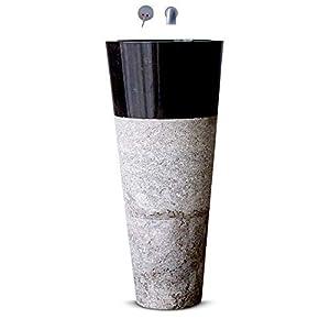 Mármol sólido de lujo, lavamanos de pedestal, lavabo de baño independiente, tocador de aseo moderno en color negro y gris moderno – Ancho 40 cm, diámetro: 40 cm, altura 90 cm – Cemlux