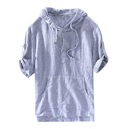 Nyuiuo Herren Kapuzensweatshirt Mode Männer gestreiften Druck lose beiläufige Retro-T-Shirt Sommer Männer gestreiften Taschenknopf beiläufige lose Hemd Kurzarm-Sport-Hoodie -