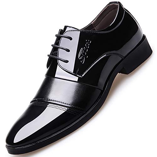 XWQYY Mens Patent Shiny PU Leder Schnürschuhe Smart Casual Formelle Schuhe,Black-40EU Shiny Patent