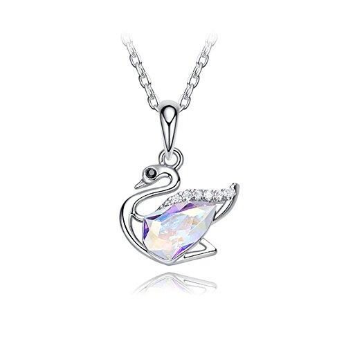 Z&HA Damen Halskette Schwan Anhänger 925 Sterling Silber Swarovski Elements Kristall Halskette Schmuck Geschenk Für Ihre Frau Freundin Geschenkbox
