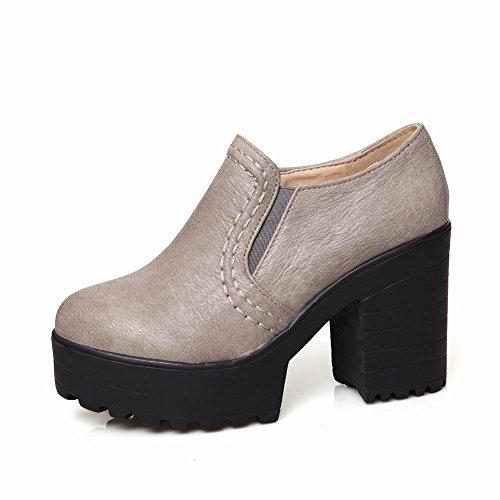 Mulheres Calcanhar Mee De E Confortável Planalto Bombas Grosso Moderno Fechadas Cinza Redondo Bico Sapatos Populares BBq5PWrH