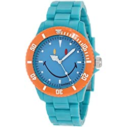 "Smiley ""Happy Time"" Men's Colour Block Analogue Watch WGS-CBTQV01 with Turquoise Polycarbonate Strap and Blue Face"