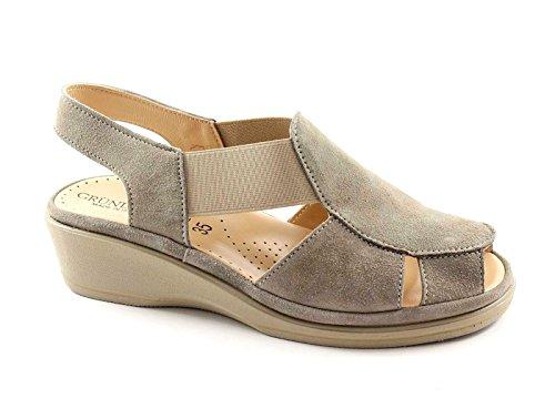 Grunland ELOI SA0888 Taupe Suede Sandales Compensées Femme Confort Élastique Grigio