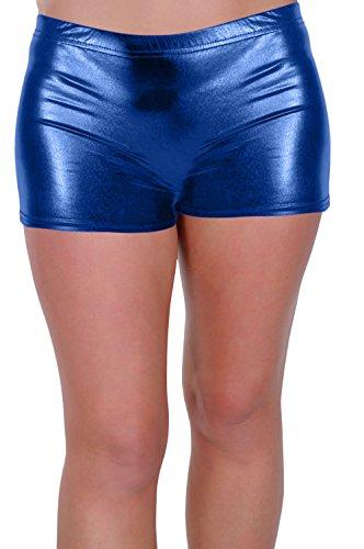 Eye Catch - Kalypso Aux Femmes Filles Danse Fantaisie Robe Club Porter Des Sports Gym Chaud Un Pantalon Brillant Métallique Étendue Short Royal Bleu