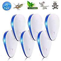 6 Packs Ultrasonic Pest Control Repeller - Electronic Pest Repellent Plug In for Insect, Mice, Rats, Spiders, Fleas, Roaches, Bed Bugs, Mosquitoes, Human & Pet Safe,White and Blue