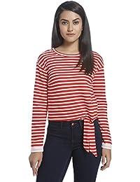 ONLY Women's Onlamy L/S Short Stripe Knot Swt Sweatshirt