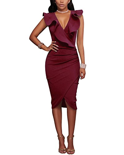 Gikim Women's Sexy V Neck Ruffle Sleeveless Tight Wrap Club Midi Party Bodycon Dress Wine Red XL