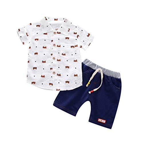 d Baby Jungen Sommer Gentleman Bär Kurzarm Shirt + Shorts Hosen Sets (Weiß, 2-3 Years-110) ()