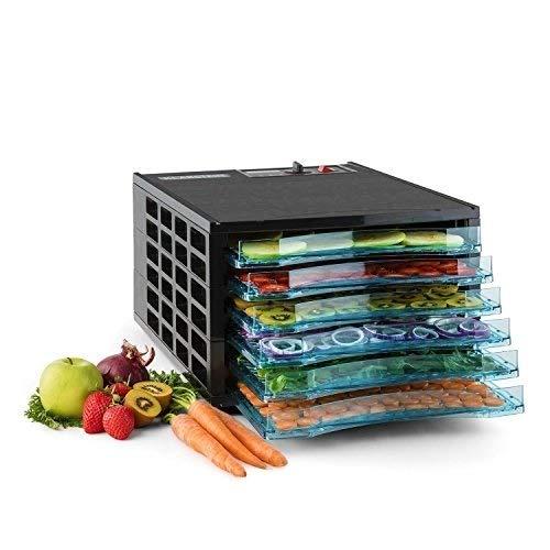 Klarstein Fruit Jerky 6 Basic • déshydrateur • robot déshydrateur • déshydrateur à viande et fruits • 6 niveaux • conception à tiroirs • 630 Watts • température réglable • séchage 0,58 m² • noir