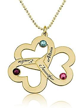 Personalisierte Namenskette Herzkette mit drei Herzen - graviert mit Ihren eigenen 3 Namen und Geburtssteinen