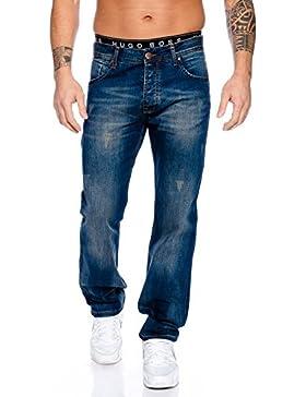 Rock Creek Designer Herren Jeans Hose Straight-Cut Gerades Bein Clubwear RC-2102 W29-W44