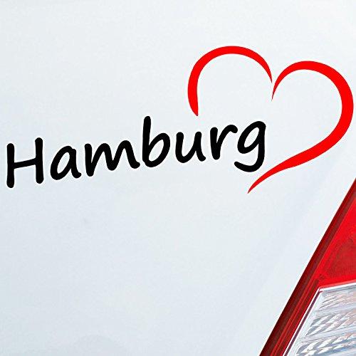 Auto Aufkleber in deiner Wunschfarbe Hamburg HH Herz Heart City Stadt Motorrad 19x8 cm Autoaufkleber Sticker (Hearts City)