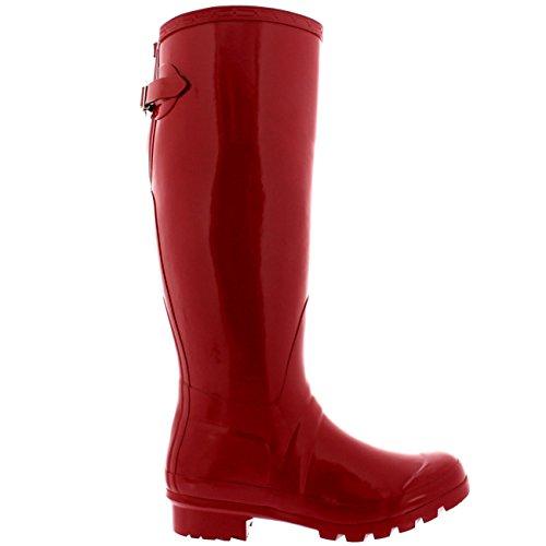 Damen Adjustable Back Tall Gloss Regen Wellies Gummistiefel Stiefel Dunkelrot z9oC4DoP2