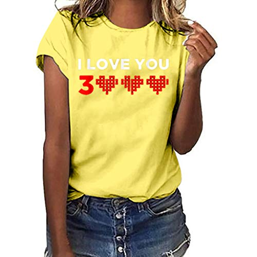 Mode Damen Shirt Herz Druck Loves You 3000 Tees T-Shirt Kurzarm Einfache Top Casual Oansatz Bluse Gelb XXL