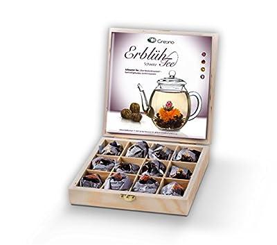 Mix de fleurs de thé noir de Creano - Cadeau dans le thé boîte en bois – 12 thés fleuris en (3 sortes différentes de roses de thé), Floraison