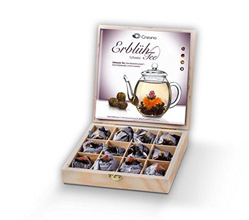 "Set para regalo de flores de té de Creano en caja de regalo de madera ""té negro"" / 12 ""Tés Florecientes"" en 3 variedades"