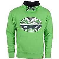 VfL Wolfsburg Offizieller Kapuzenpulli/Pulli / Hoodie Stempel 1945 Die Wölfe Brustprint im Used Look grün (Größe S - 4XL)