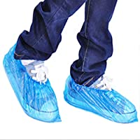 HVdsyf Pack of 100, Disposable Shoes Cover Plastic, Elastic Ankle Waterproof Anti Slip Cleaning Protective Overshoes
