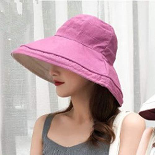 COOOOEENS Doppelseitige Wearable Women Bucket Rose rote Farbe Hut Faltbare Big Brim Sunshade Cap Beach Hats für Frauen - Breton Rose