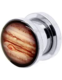 tumundo 1 Pieza o Kit Túnel Dilataciones Acero Inox Pendientes Piercing Expansor Júpiter Planeta Universo Ø