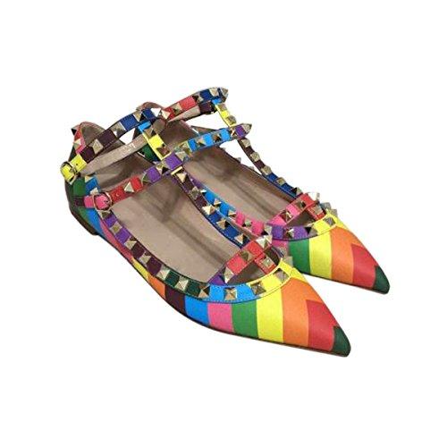 Damen Pumps Spitze Zehen Streifen Flach Mehrfarbig mit Nieten T-Spange Schuhe Bunt