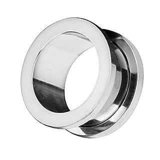 Piercingfaktor Flesh Tunnel Ohr Schraub Ear Plug Piercing Edelstahl Schraubverschluss Ohrpiercing Creole 51 mm Silber