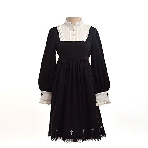 Mädchen Harajuku Kostüm Japanischen - Heilige Mädchen Lolita Kleid Langarm Kreuz Stickerei Kleid Abnehmbare Spitze Kragen Kostüm Kleid Schwarz (S)
