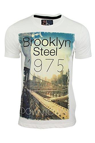"""Dissident - Herren T-Shirt - Motiv: """"Brooklyn Steel"""" - Kurzarm Elfenbein"""