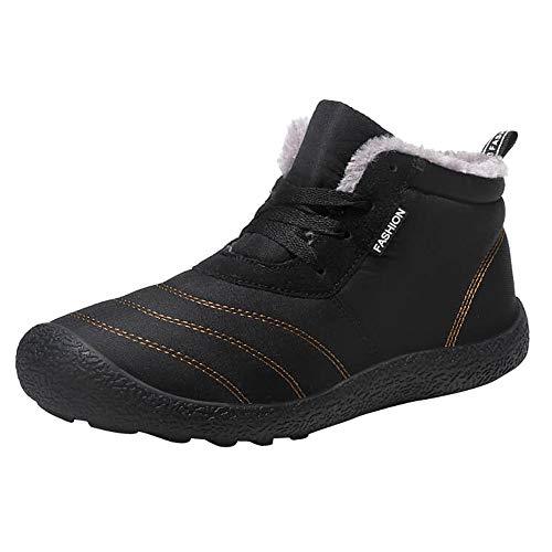 MOIKA Couleur unie pour hommes Garder les bottines au chaud ainsi que les bottes en velours - Bottes plates de neige Bottes d'équitation(Noir 47)