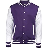 Varsity Jacket AWDis Hoods Streetwear sudadera hombre College Rosa Blanco Chaqueta, Hombre, rosa-blanco